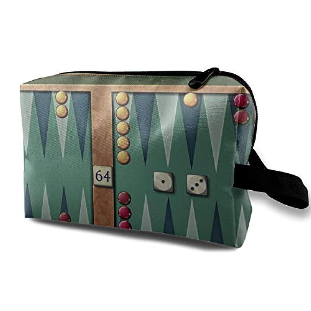 みなさん道路褐色Backgammon 収納ポーチ 化粧ポーチ 大容量 軽量 耐久性 ハンドル付持ち運び便利。入れ 自宅?出張?旅行?アウトドア撮影などに対応。メンズ レディース トラベルグッズ