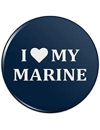 私は私の海洋USMCを愛していますホワイトテキストでブルー公式にライセンスピンバックボタンピンバッジ - 1
