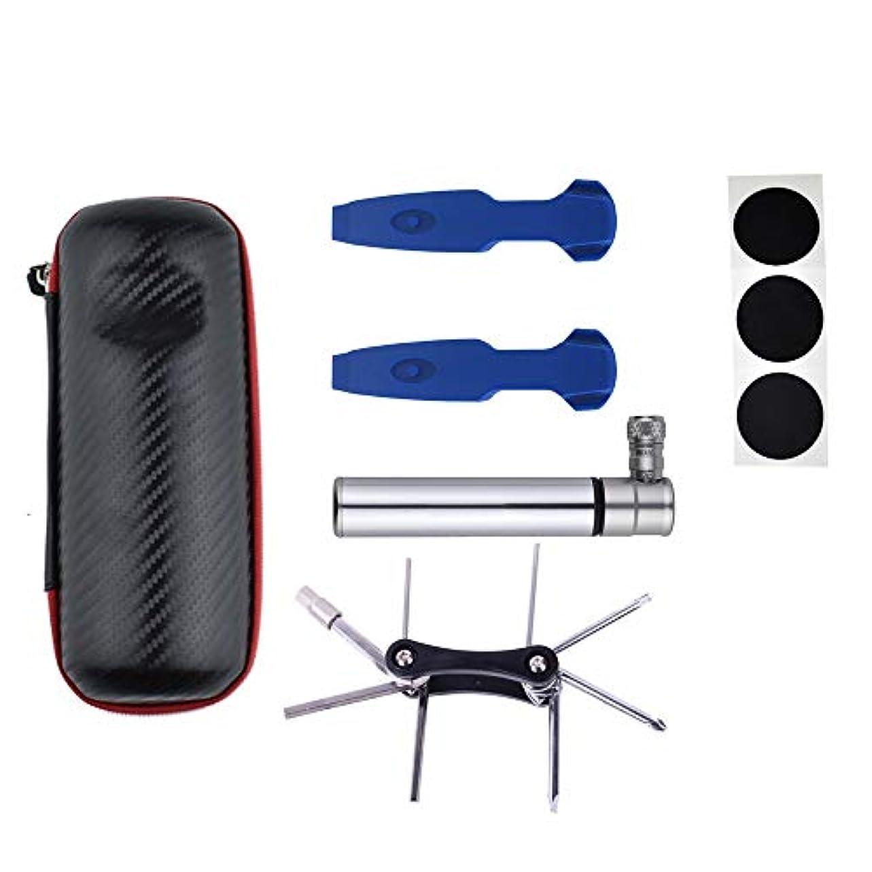 個人バング耳自転車空気入れ ユニバーサル高圧ミニ多機能自転車足駆動床ポンプフィットプレスタシュレーダーバルブ圧力計と収納袋 携帯ポンプ (Color : Silver, Size : 12.2cm)
