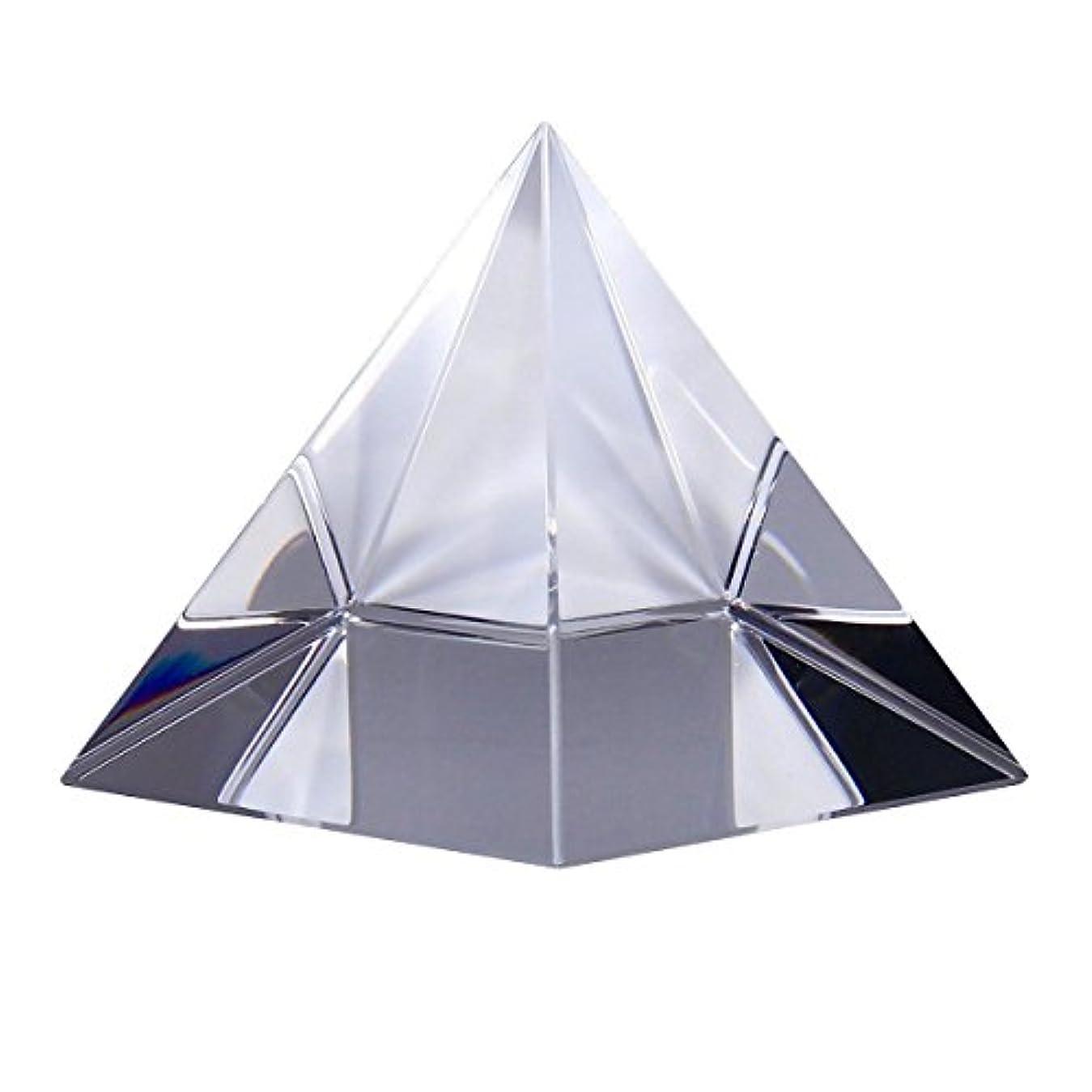 オーラル奨励しますフラフープClear Optical Glass Pyramid Crystal Healing Prism Science Optics Ornament 50mm