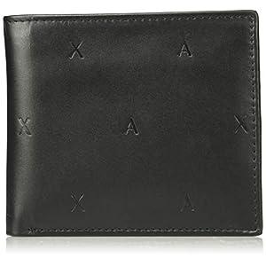 [A|Xアルマーニ エクスチェンジ]A|Xエンボスロゴ コインポケット付き折りたたみ財布 MAN'S BIFOLD COIN POCKET NERO