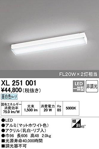 オーデリック LEDベースライト FL20W×2灯相当 1500lm 600モジュールタイプ 拡散タイプ 昼白色タイプ 5000K XL251001