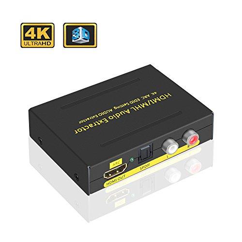 ELUTENG HDMIデジタルオーディオ分離器 4K 30Hz ARC対応 EDID HDMI 音声分離器 3D 音声 ステレオ 高音質 HDMI 光デジタル アナログ 分離 HDMI SPDIF RCA 出力 HDMI1.4 HDMIコンバーター PS4 / PS3 / PC / Blu Ray Player 適用 -