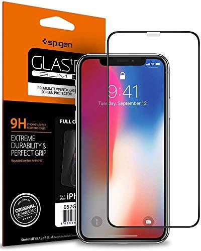 【Spigen】 iPhone XS ガラスフィルム/iPhone X ガラスフィルム 5.8インチ 用 全面保護フィルム 液晶強化ガラス 【フルカバー】 9H硬度 發油加工 3DTouch Face ID 対応 063GL25234 (FC HD Black (1枚入))