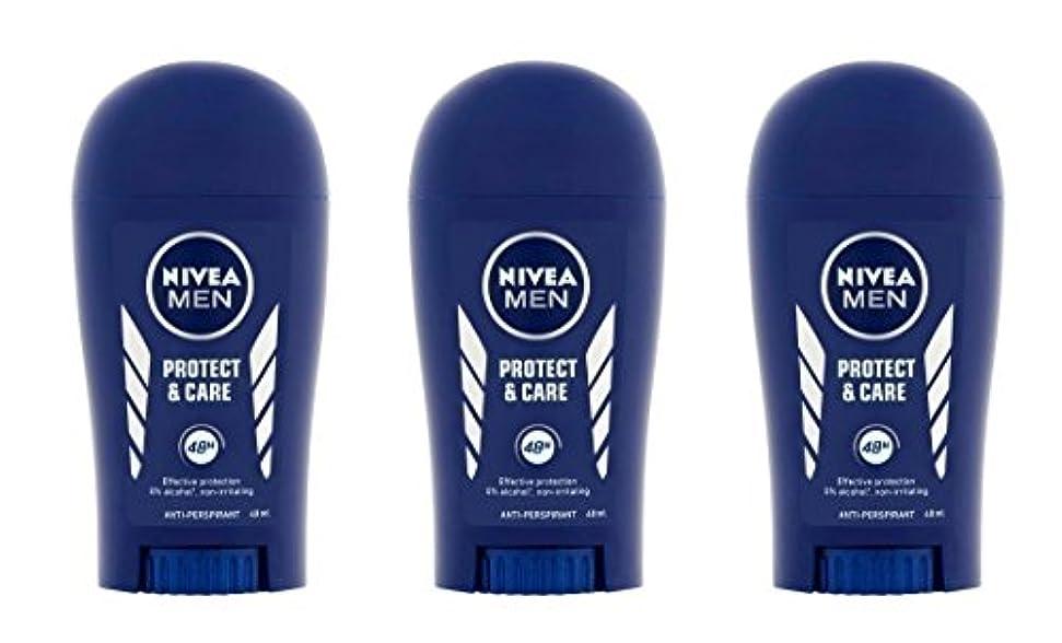 永遠にホバーラウズ(Pack of 3) Nivea Protect & Care Anti-perspirant Deodorant Solid Stick for Men 3x40ml - (3パック) ニベア保護するそしてお手入れ制汗剤...