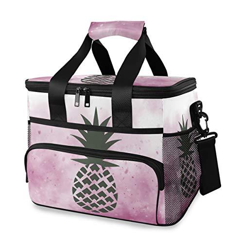 保冷バッグ クーラースクエアボックス ピンク パイナップル 夢幻 ランチバッグ ソフト ピクニック用 大容量 軽量 防水 手持ち・肩掛け2way 調節可能なベルト付き