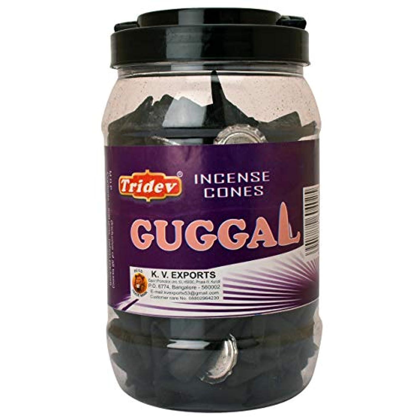 女王転送影響Tridev Guggal Incense Cones Jar 500グラムパック