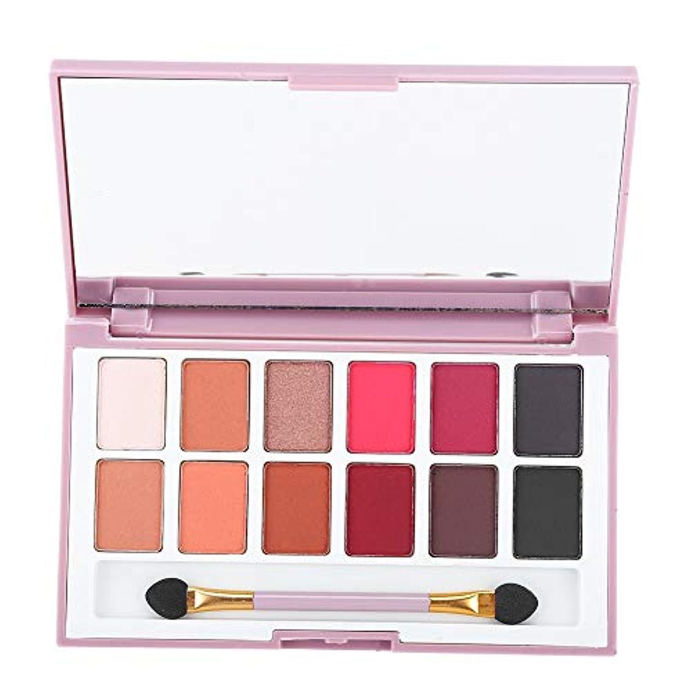 エスカレーター一般的な全員アイシャドウパレット 12色 化粧マット 化粧品ツール アイシャドウパウダー グロス (01)