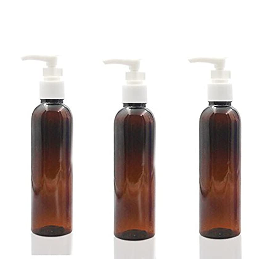 非常に怒っています天井ハード3PCS 150ml Plastic Round Pump Bottles for Cooking Sauces Essential Oils Lotions Liquid Soaps or Organic Beauty Products (Brown) [並行輸入品]