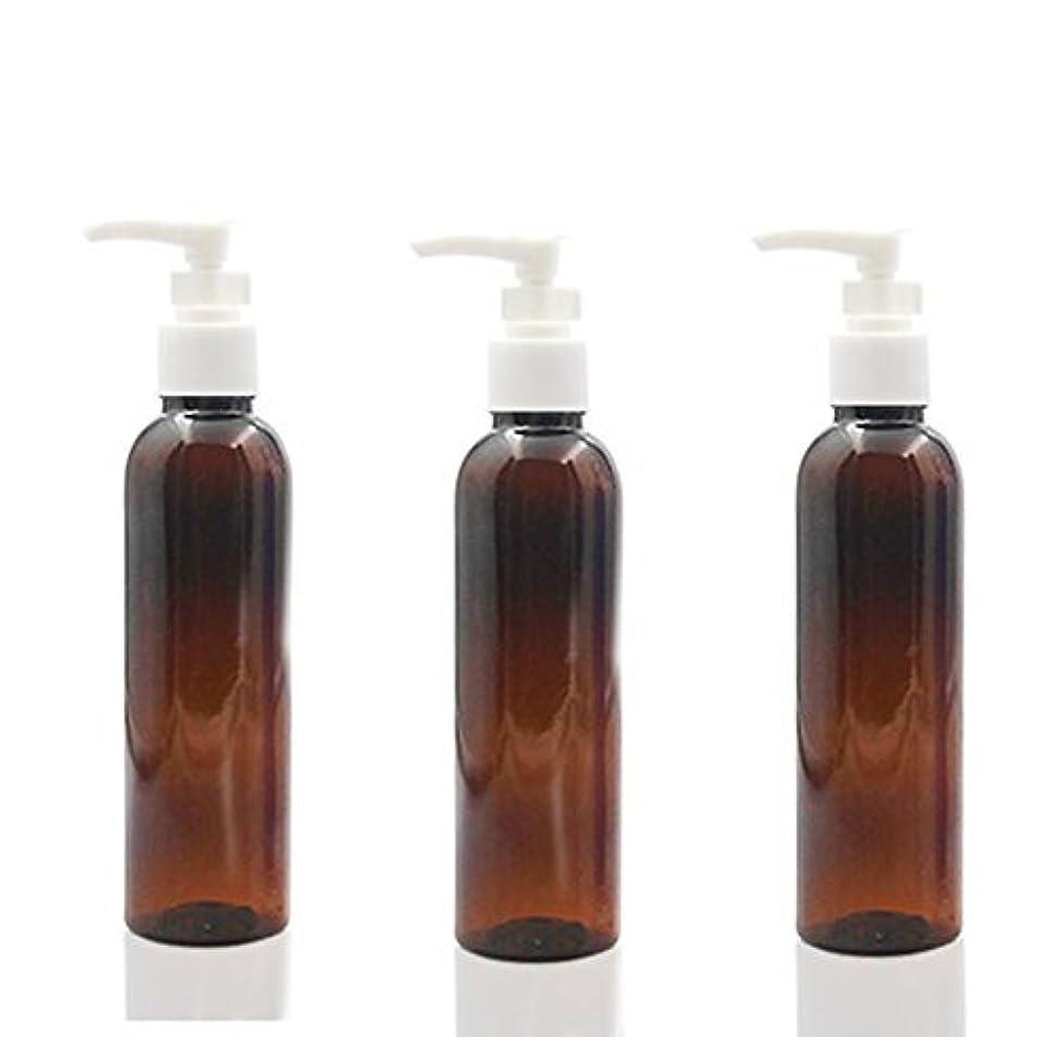虚偽枕コンパス3PCS 150ml Plastic Round Pump Bottles for Cooking Sauces Essential Oils Lotions Liquid Soaps or Organic Beauty Products (Brown) [並行輸入品]