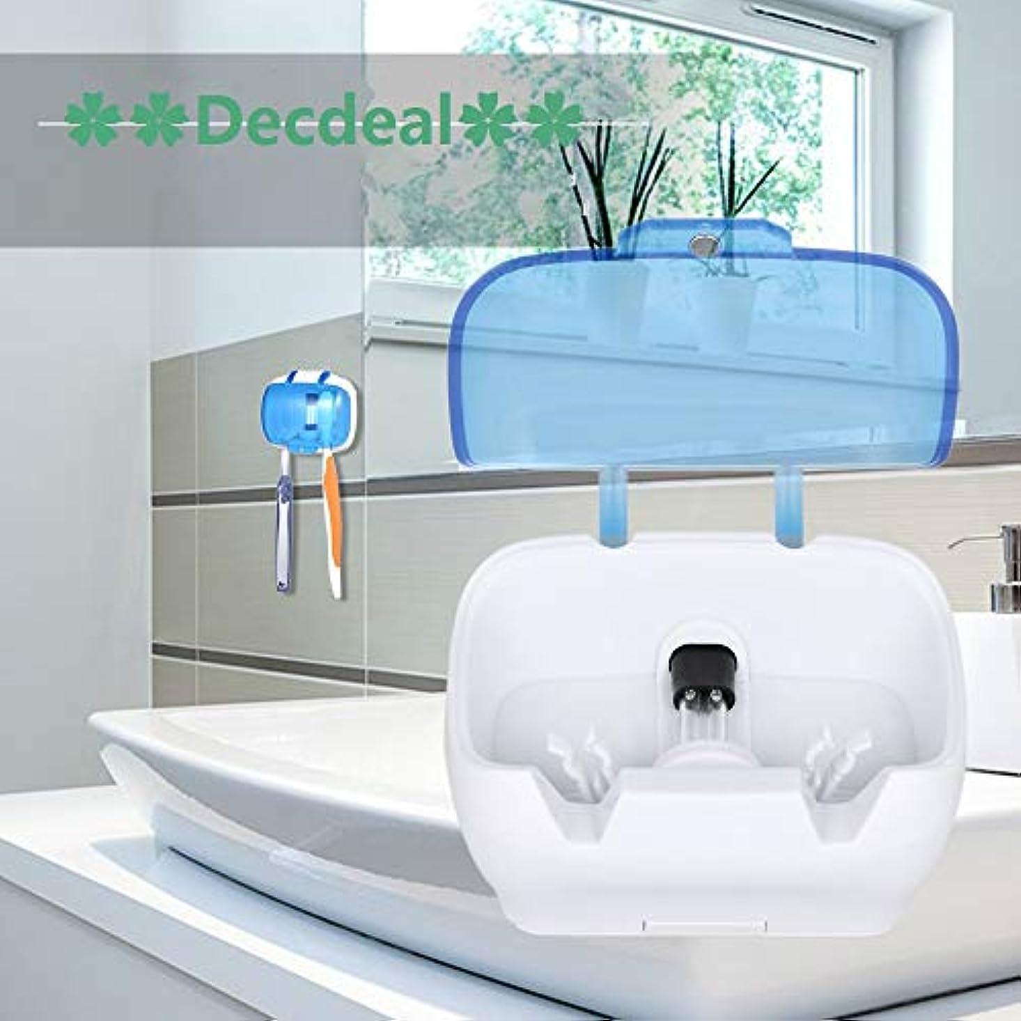 甘くする硬さ試みDecdeal UV滅菌キャビネット 多機能消毒クリーンツール プロフェッショナル ネイルアート機器トレイ 温度殺菌ツール 5W 220V USプラグ (歯ブラシUV消毒ボックス)