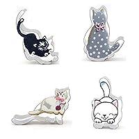 Jin Tianshan 2PCS猫の形のステンレス鋼のクッキー型のフォンダンスタイリングツール (Size : 7207)