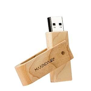 MAXINDA 木製 USB 8GB/16GB/32GB/64GB/128GB ビジネス用 大容量 USBメモリ フラッシュメモリ 3.0 (32GB, 回転式)