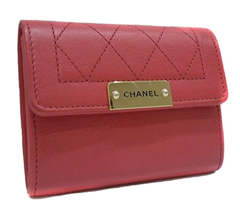 CHANEL シャネル スモールウォレット コンパクト財布 コインケース レザー ピンク系 A84299【中古】