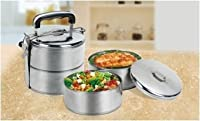 inEdge Stainless Steel Lunch Bowl Tiffin Set with 2 Tiers by ToolUSA