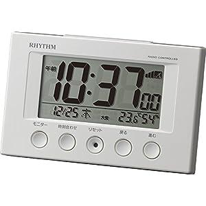 リズム時計 RHYTHM 電波 目覚まし 時計 フィットウェーブスマート ホワイト 8RZ166SR03