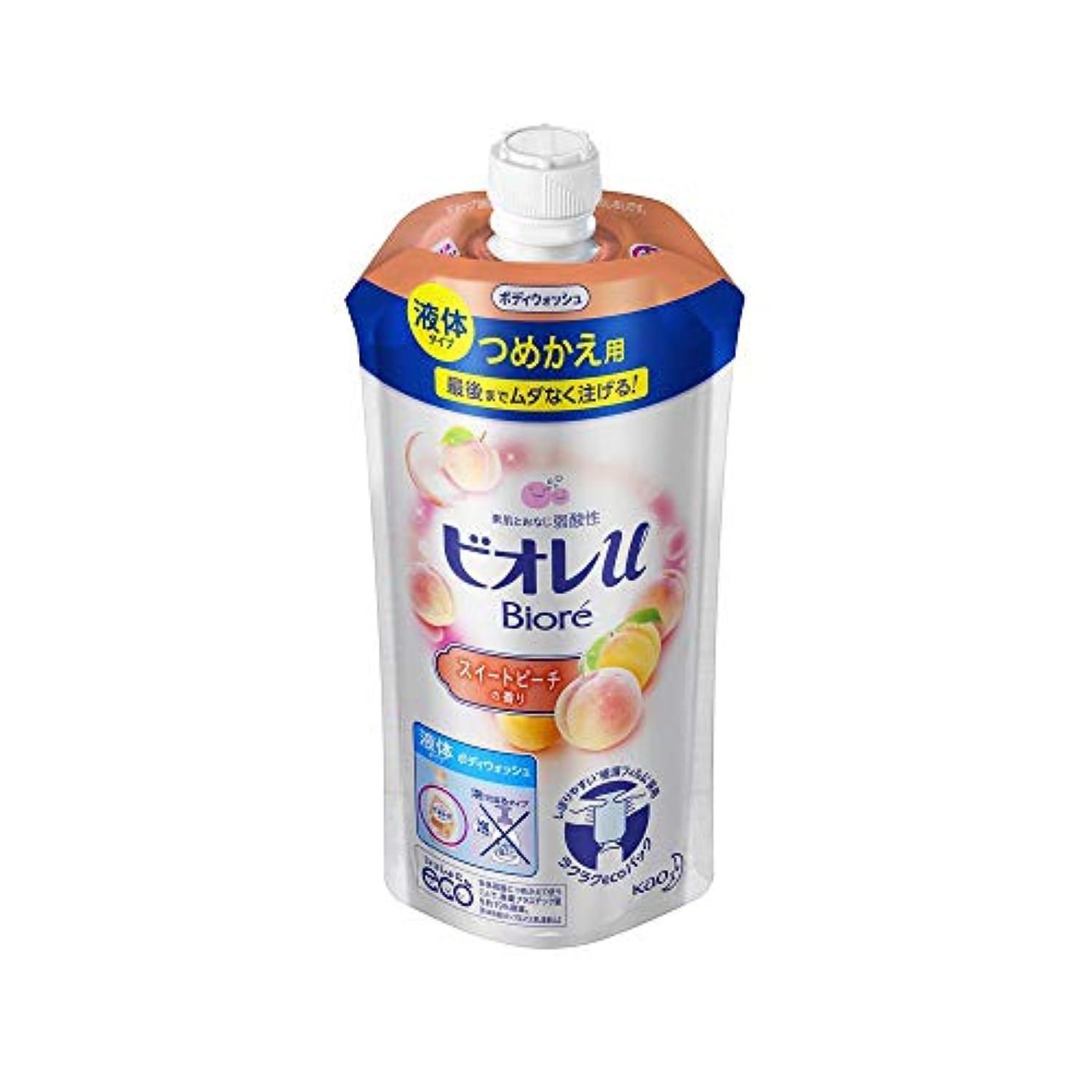 今晩変えるええ花王 ビオレu スイートピーチの香りつめかえ用 340ML