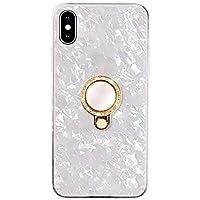 バンカーリング付き iPhoneケース シェル調 tpu おしゃれ 韓国 iPhone ケース カバー (iPhoneX/XS, ホワイト)