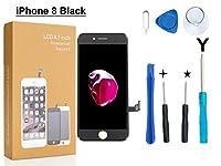 Oli and Ode iPhone 8 修理パーツ フロントパネル 3D 液晶パネルタッチスクリーン修理交換用 修理工具付属 (8 ブラック)