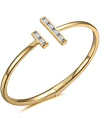 Italina Fashion Cubic Zirconia T Bangle Bracelet Jewelry Gifts for Women Ladies Rhodium/Gold/Rosegold Plated Wedding Birthday