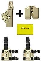 IMI Defense z2000mp00デュアルマガジンホルダー+ z1400レベル3360°回転ホルスターGlock 19/ 23/ 25/ 32GEN 4、タン+ 2セットz2200ドロップ脚アタッチメントリグ+ Ultimate Arms Gear Careシリコンクリーニングクロス