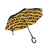 逆さ傘 逆傘 長傘 日傘 逆折り式傘 晴雨兼用 梅雨対策 UVカット 耐強風 C型 二重構造 車用 (犬 ペット 個性的 オレンジ)