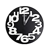 rising・sun 3D 立体 デザイン 壁掛け 時計 オシャレ な モダン アート (ブラック)