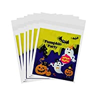 Perfk ハロウィーン バット カボチャ お菓子 クッキー ギフトバッグ 自己粘着性 包装の好意 100個 全4種選べる - カボチャパーティー