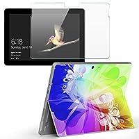 Surface go 専用スキンシール ガラスフィルム セット サーフェス go カバー ケース フィルム ステッカー アクセサリー 保護 クール 花 フラワー カラフル 002070