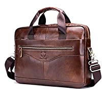 Men's Shoulder Bag, Popoti Leather Handbag Bag Briefcase Grand Laptop Bag School Bag Multifunctional Vintage Crossbody Messenger Bag