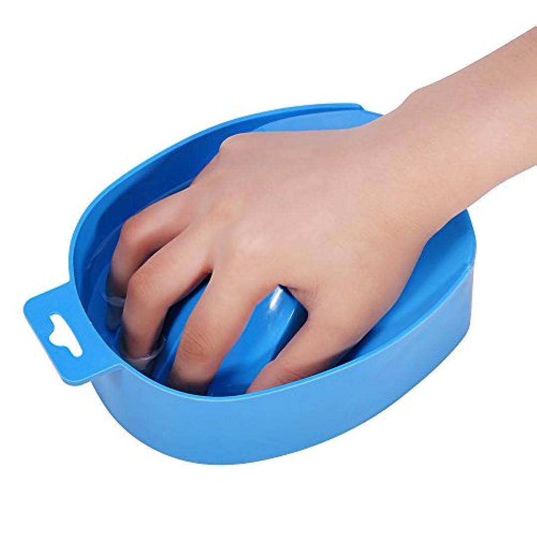 形容詞ピクニックをする抑制ネイルアートのヒント手洗いボウルマニキュアスパツール(青)