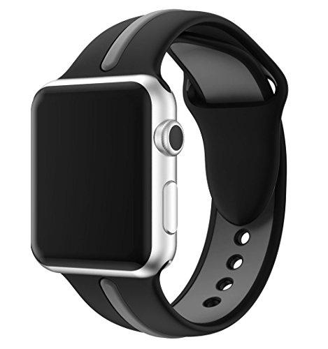 EloBeth Apple Watch /Apple Watch 2バンド シリカゲルバンド アップルウォッチ / New Apple iWatch Series 2 / Apple Watch Series 1 に対応 バンド ラグ付きfor Apple Watch (42mm, 黒&グレー1)