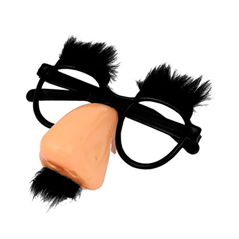 Gaoominy サンゴ道化師のピンクの鼻とブラックい口ひげラウンドメガネ