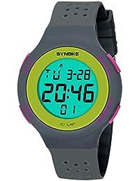 Goenn 可愛い 多機能 腕時計 LCD表示 スタンダード クォーツ デジタルモデル シリコンバンド ストップ ウォッチ 高品質 オシャレ 50M防水 スポーツ アウトドア レディース ガールズ (グレー)