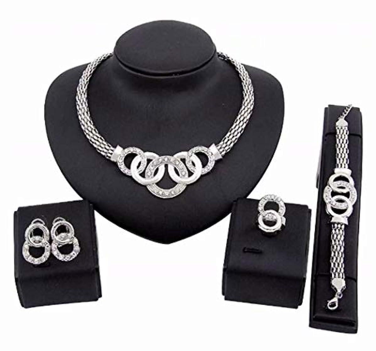 見る人彼女大胆不敵七里の香 ジュエリーセット ダイヤモンド ジルコン ペンダントネックレス & イヤリング & ブレスレット 4点セット