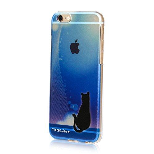 MRLab iPhone6sケース 青 黒猫 グラデーション...