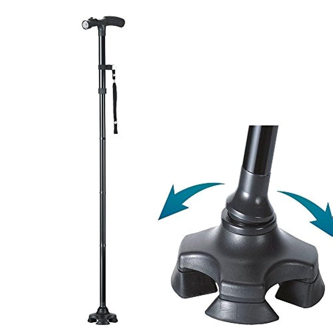 役に立たない柔らかさヘルシーイーチャンス ケーンセーフ ショート 単品 杖 ステッキ 4点支持 折りたたみ 軽量 介護 歩行補助 伸縮式 led ライト 搭載 イーチャンス e-chance cane safe