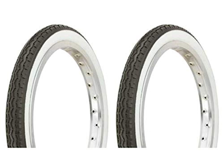 Lowrider タイヤセット 2タイヤ 2タイヤ デュロ 16インチ x 1.75インチ ブラック/ホワイト サイドウォール HF-160A 自転車タイヤ 自転車タイヤ キッズバイクタイヤ 自転車タイヤ BMXバイクタイヤ