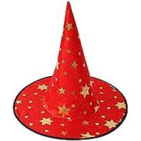 Orfilaキッズハロウィン魔女帽子折りたたみ式Star Printedウィザード帽子子供用コスプレDrame Magician Pointedキャップ、レッド
