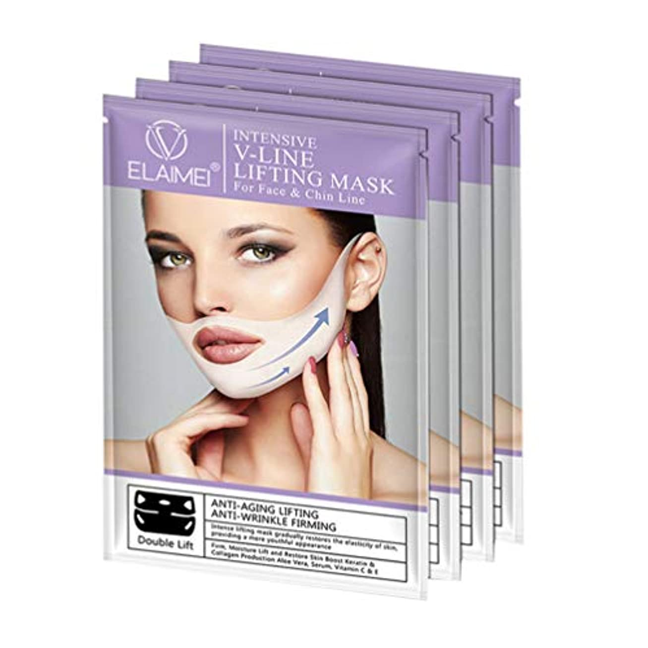 緩める長方形本気Healifty 女性の男性のための4本のVラインフェイスマスクネックマスクあごネックリフトパッチ