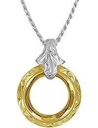 [ハワイアン シルバー ジュエリー] Hawaiian Silver Jewelry 波 × リング型 ネックレス イエローゴールド トーン シルバー925 [インポート]