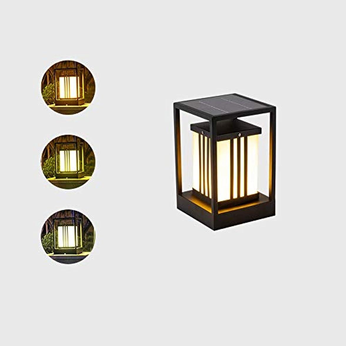 気球減少同化するPinjeer Ledソーラー屋外3色調光ガーデンポストライトヨーロッパ現代クリエイティブステンレス鉄ボディガラスランプシェードコラムランプ風景ストリートヴィラ風景ドア装飾柱ライト (サイズ : S)