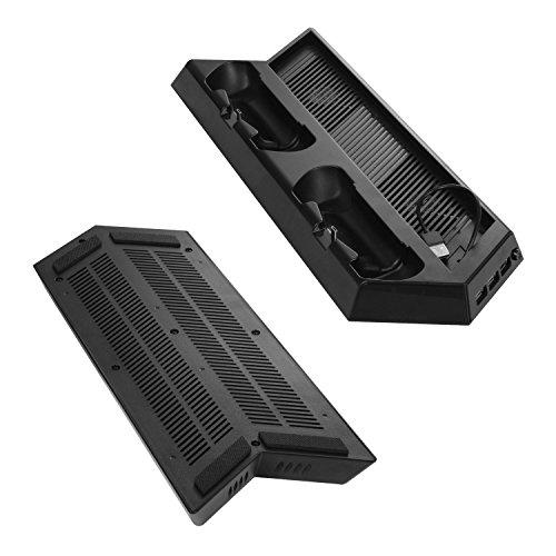 (ケテン)Keten PS4 PRO 縦置きスタンド コントローラー充電スタンド 2台同時充電 USBハブ3ポート 冷却ファン付き プレーステーション4 プロ専用(ブラック)
