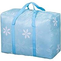 大規模なオックスフォード布の収納袋青い花のパターン防水性防湿折り畳み旅行の主催者ポータブル荷物ワードローブ服仕上げ整理キルト羽毛移動保管袋 (サイズ さいず : 75 * 35 * 50cm)