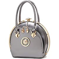 FTSUCQ Womens Lock Satchels Shoulder Handbags Casual Round Bag Hobos Satchels Purse