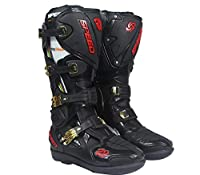 新入荷 PRO-BIKER SPEED プロバイカー オートバイ レーシング バイクウエア カーボン PU革 ブーツ 靴 (ブラック, 41)