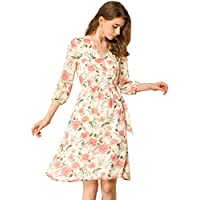 Allegra K Women's Floral V Neck Beach Casual A-Line Chiffon Dress