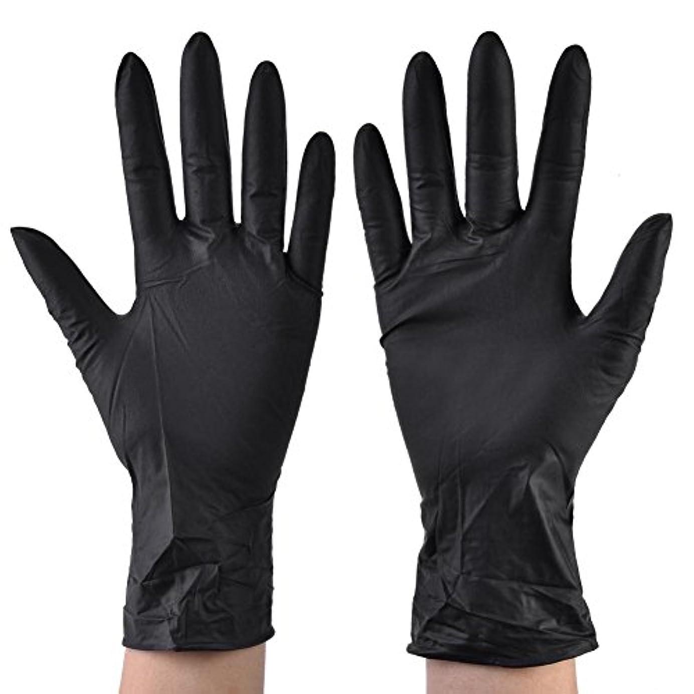 ひばり整然とした裁判所100pcs使い捨てニトリル手袋医療グレードラテックスフリーパウダーフリーブラックラージミディアムスモールインダストリアル、医療、美容、健康(M)