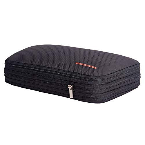 超便利旅行圧縮バッグ ファスナー圧縮で衣類スペース50%節約 軽量 出張 旅行 可変スペース 便利グッズ ブラック
