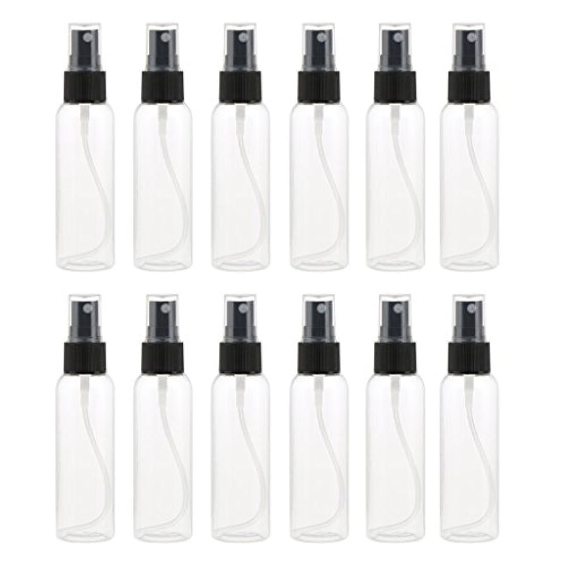 改革水っぽいフラッシュのように素早くお買得 プラスチック 分装瓶 スプレーボトル ミストアトマイザー 液体香水 詰め替え 旅行用 60ml 12PCS - ブラック